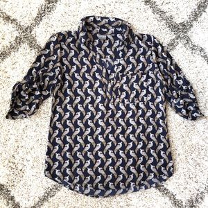 Navy Cockatoo 3/4 Sleeve Blouse. Size M